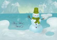 Two Snowmen On The Snow Field ...