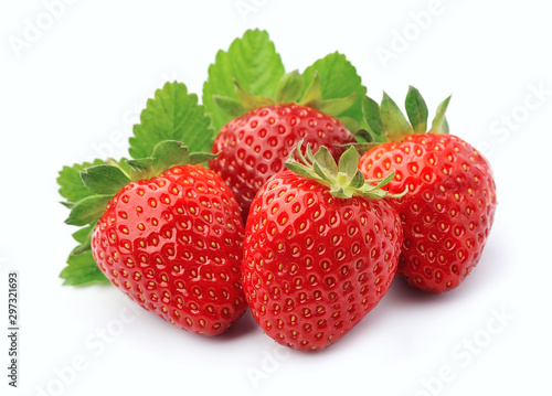 Sweet strawberry with leaves.