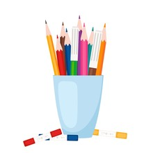 Art Tools, Stationery. Color Pencils And Markers Stand In Glass Vector Illustration