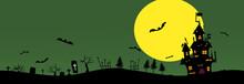 Halloween Background Material. Castle, Bats And Grave. ハロウィンの背景素材. 城、コウモリ、墓。