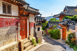 Leinwanddruck Bild Wonderful view of narrow street and traditional Korean houses