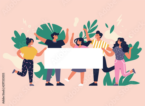 Vector illustration young people having great time and holding empty placard or banner. Positive emotions concept. Group of characters enjoying themselves and celebrating.