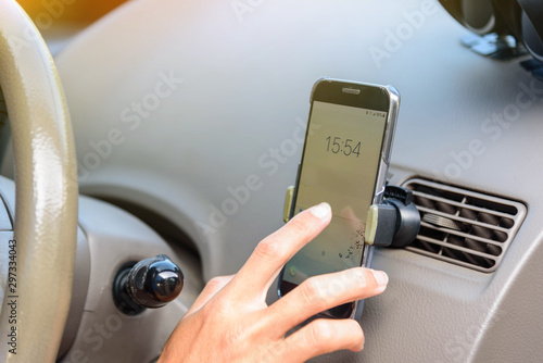 Use smartphone at holder air vent mount Canvas-taulu