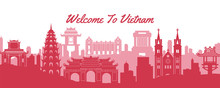 Famous Landmark Of Vietnam,travel Destination With Silhouette Classic Design
