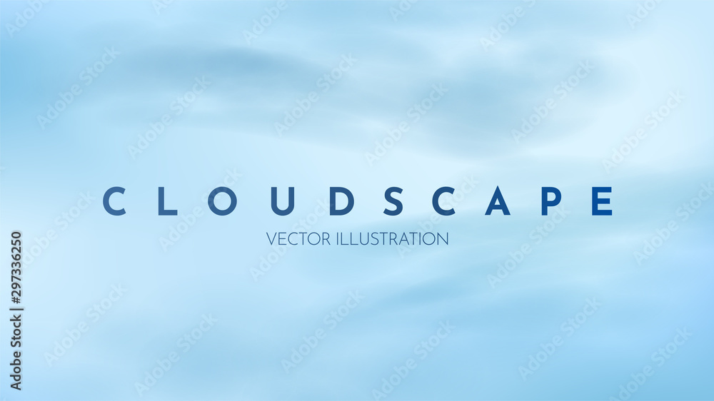Fototapeta Vector illustration. Realistic clear sky. Blue background. Template for website design, posters, flyers, banners, games. Clouds. Heaven. Copy space for text. Cloudscape backdrop. Rainy weather. Cloudy