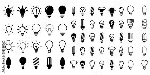 Fotografía  Bulb light vector icon set illustration on white background