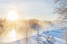Mist Over Freezing River On A ...
