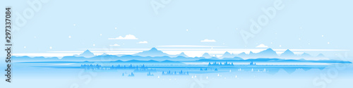 Foto auf Leinwand Licht blau Winter nature landscape panorama with spruce-trees near the snowy mountains, beautiful winter day on snowy hills, forest at the foot of mountains