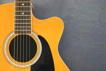 Acoustic Guitar On Isolated Background, Musical Instruments.