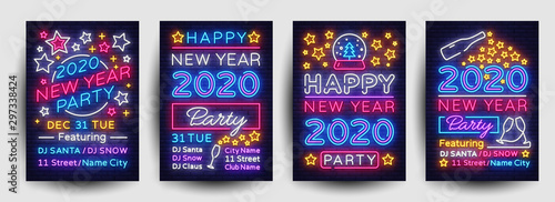 Happy New Year 2020 Party Poster collection neon vector. New Year 2020 celebration design invintation template, Christmas celebration bright neon brochure, typography invitation. Vector - 297338424