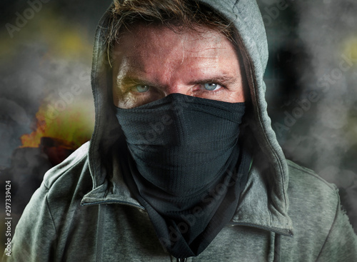 young man as ultra and radical anarchist rioter Canvas Print