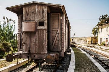 Fototapeta na wymiar Dismissed old train in Abruzzo Region, Italy