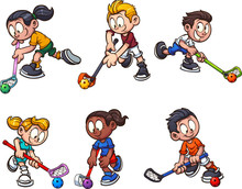 Cartoon Boys And Girls Playing Floorball Clip Art. Vector Illustration With Simple Gradients. Each On A Separate Layer.