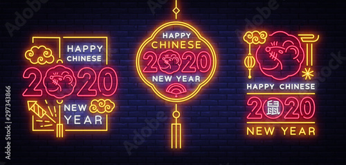 Photo  Big collection design card for Chinese New Year 2020 year of the rat in neon style Vector