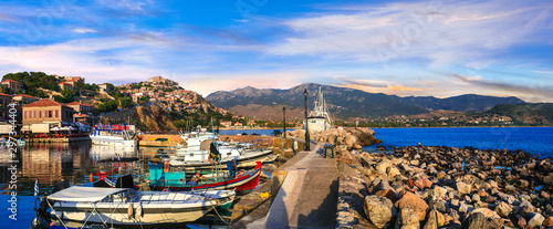 Amazing Greece series - Beautiful scenery of Lesvos island. Molyvos (Mythimna) town.