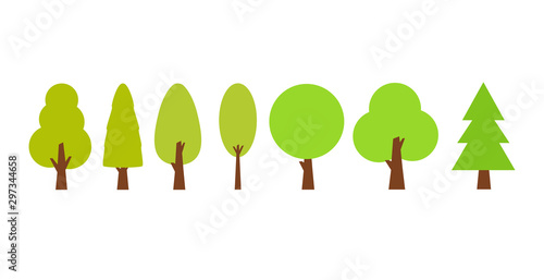 Valokuva  Flat trees set in a flat design. Vector icons.