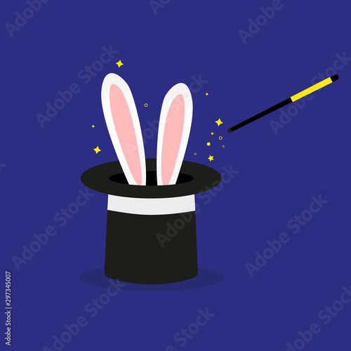 Magician's black hat, magic hat with bunny ears. Vector flat illustration in cartoon style. Wall mural