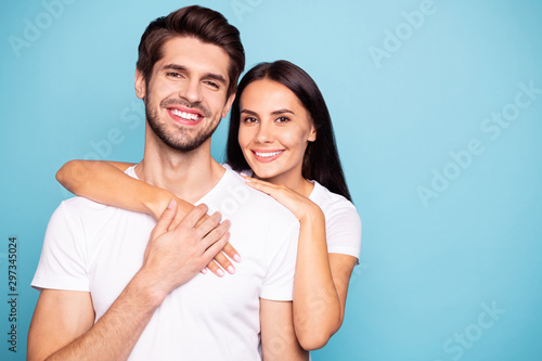 Close-up portrait of his he her she nice-looking attractive charming lovely cute Canvas Print