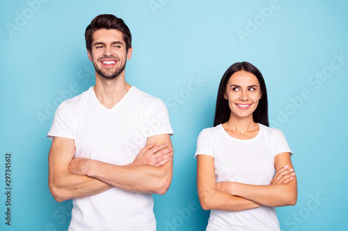 Portrait of his he her she nice-looking attractive charming cute cheerful cheery Wallpaper Mural