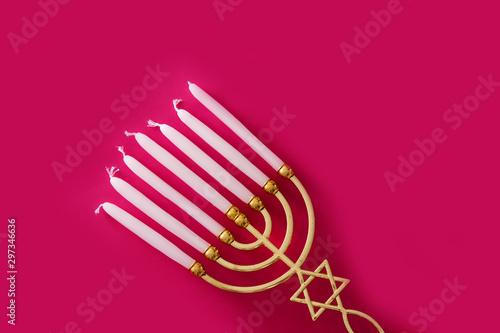 Jewish Hanukkah menorah on pink background Canvas Print