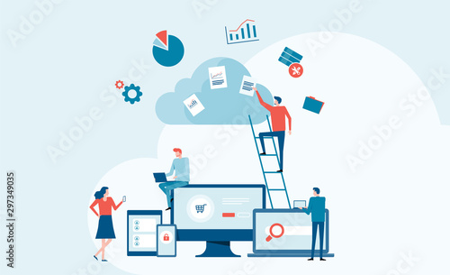 Obraz business technology cloud computing service concept and with developer team working concept - fototapety do salonu