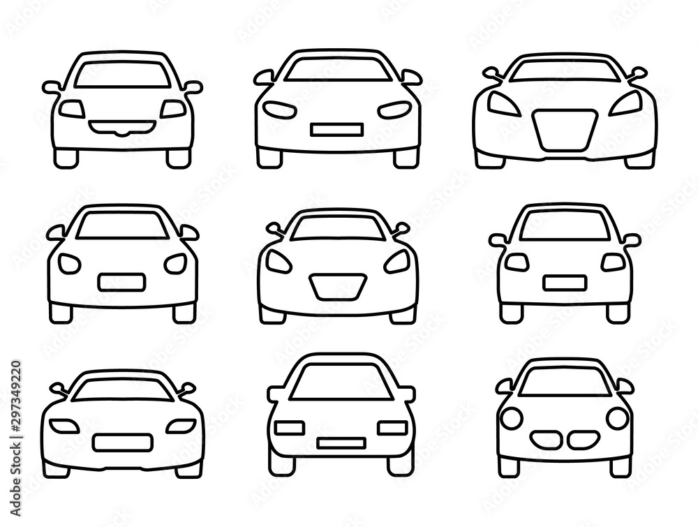 Fototapeta Set of car icons thin line. Web icons front view car. Vector illustration.