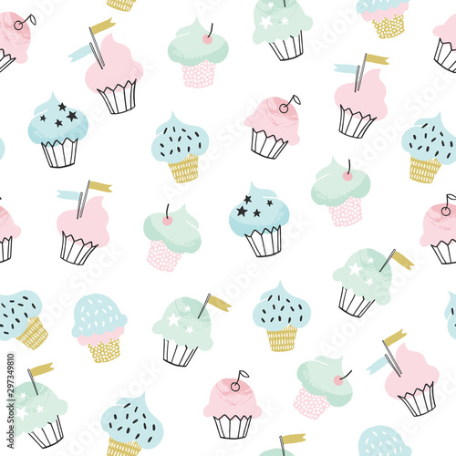 fototapeta na szkło Cupcake vector pattern. Hand drawn cute cupcakes seamless background for party, birthday, greeting cards, gift wrap, stationery.