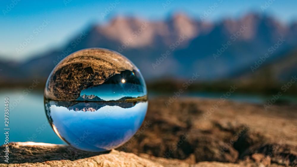 Fototapety, obrazy: Crystal ball alpine landscape shot at Fieberbrunn, Tyrol, Austria