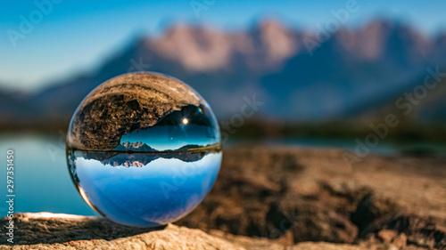 Crystal ball alpine landscape shot at Fieberbrunn, Tyrol, Austria