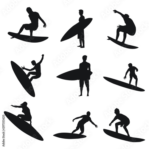 Surfing Silhouettes Canvas Print