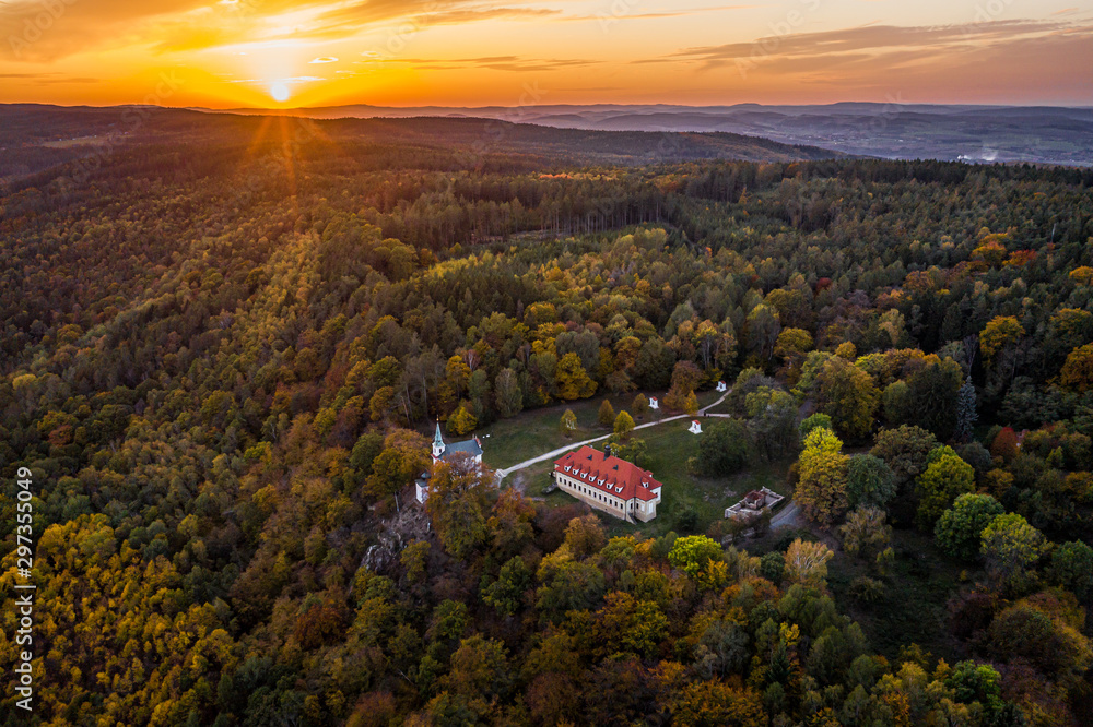 Fototapety, obrazy: The Baroque pilgrimage area Skalka, consisting of a church, a monastery and a hermitage, was built at the end of the 17th century. The temple is dedicarted to St. Mary Magdalene.