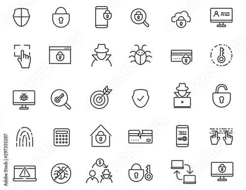 Set of linear criminal icons Slika na platnu
