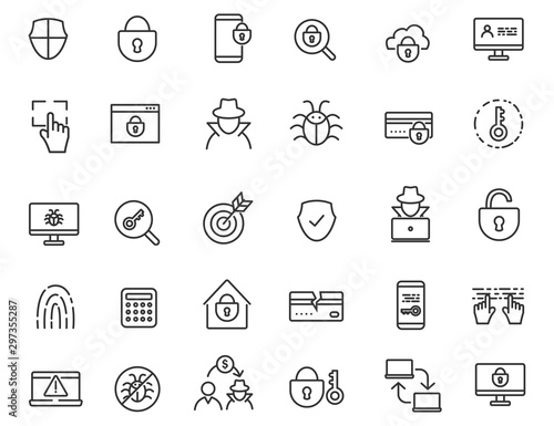 Set of linear criminal icons Canvas-taulu