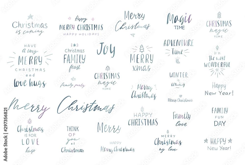 Fototapety, obrazy: Lettering merry christmas.
