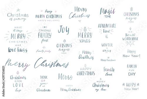 Fotomural  Lettering merry christmas.