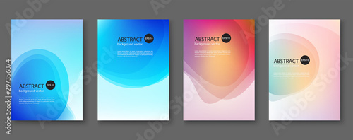 Fototapety, obrazy: Set of abstract vector backgrounds with line waves.Vector illustration.