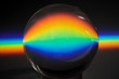 canvas print picture - Colors of the rainbow product of Broken light, showing the spectrum of the light being bent by a spherical glass object  physics and optics