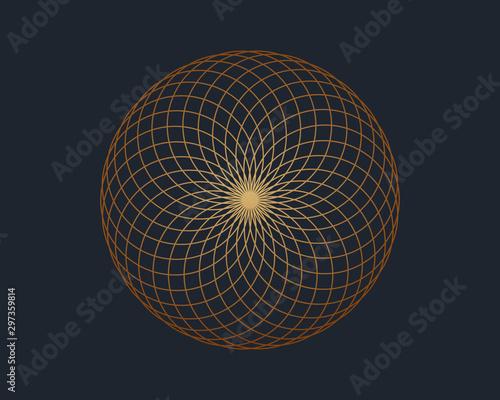 Leinwand Poster Torus yantra, a sacred geometry symbol, vector illustration.