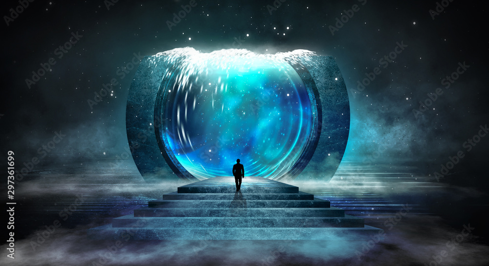 Fototapety, obrazy: Dark abstract futuristic background. Scene with stairs up. Seabed, large abstract aquarium, sea waves. Blue neon light, concrete floor reflected in water.