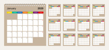 Calendar 2020 Colorful Design,...