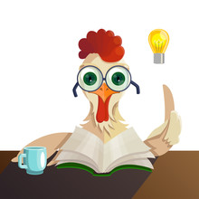 Rooster In Glasses Reading A B...