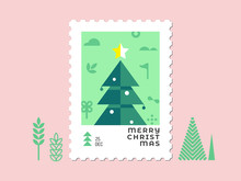 Christmas Tree - Christmas Stamp Flat Design For Greeting Card And Multi Purpose - Vector Illustration