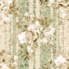 Fototapeta Do jadalni Watercolor hand painted seamless pattern with beautiful orchids and herbs MW copy