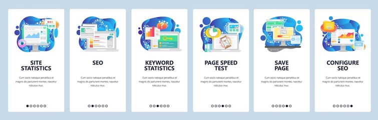 Mobile app onboarding screens. Digital marketing charts, business analytics, SEO and speed optimization. Vector banner template for website and mobile development. Web site design flat illustration