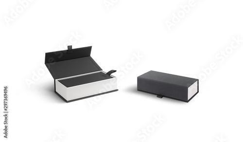 Blank opened and closed white case with gray lid mockup, Billede på lærred