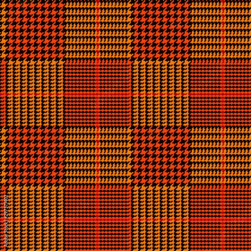 Carta da parati Orange Black Glen Plaid Seamless Vector Pattern with Brick Red Overcheck