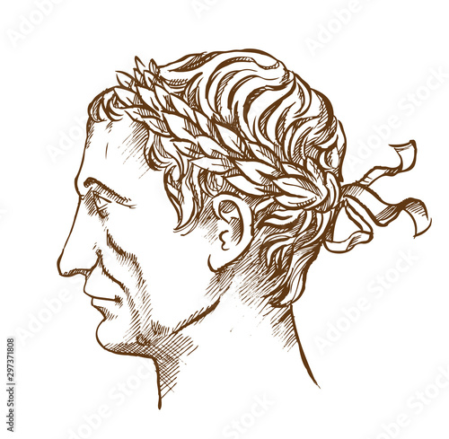 Fotografía Julius Caesar,  Roman politician and general vintage line drawing