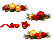Collection Of Photos Christmas Decoration Golden Yellow And Red Balls With Ribbon Fir Cones And Fir Tree Branches Isolated