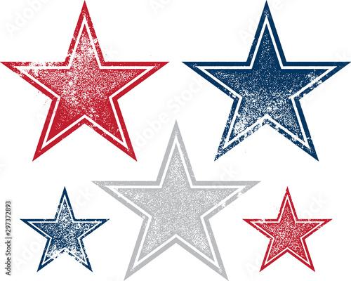 Obraz Vintage Distressed and Patriotic Vector Stars - fototapety do salonu