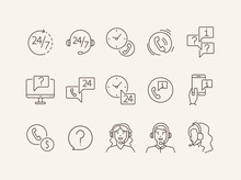 Client Support Line Icon Set
